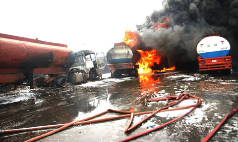 File photo: a tanker fire