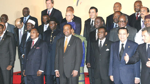 President Goodluck Jonathan (5th left), and other African leaders with the President of France, Nicholas Sarkozy, at the opening ceremony of the 25th Africa-France summit in Nice, France, yesterday.    Photo: State House.