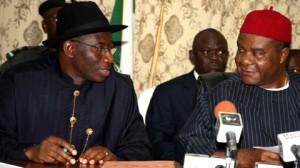 Acting President Jonathan and PDP Chairman Ogbulafor
