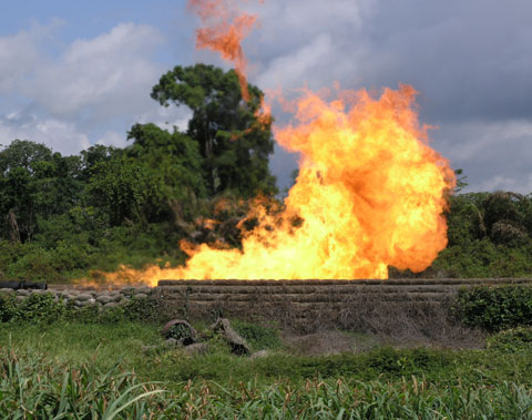 • A gas flare site in Niger Delta