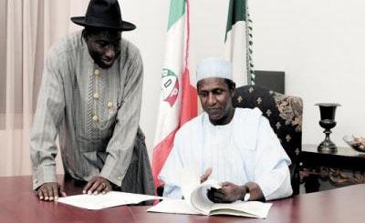 President Goodluck Jonathan and late president, Alhaji Umaru Musa Yar'Adua