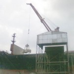Cement being loaded from ship into silo before being bagged at Dangote Cement Plants, Onne, Port Harcourt