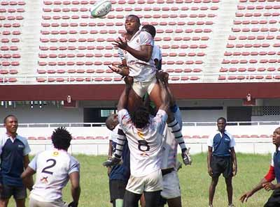 Action recorded during a rugby match at the national stadium, Lagos.