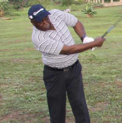 •Vice Admiral Adekeye teeing off at the Royal Valley  Golf Resort in Igosun, Offa, Kwara Stte