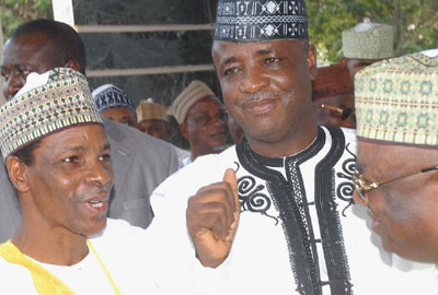Gov. Wamako of  Sokoto State with his Deputy, (left)Muktar Shagari at the Governors Lodge in Asokoro shortly after the Supreme Court Judgment in Abuja on Friday.  Photo by Gbemiga Olamikan