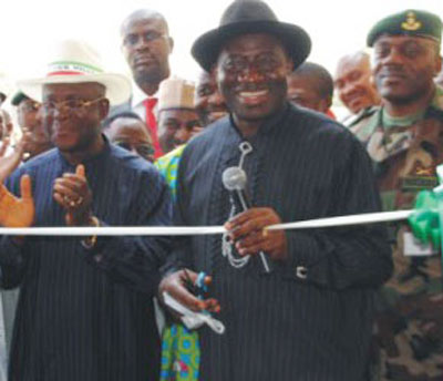 Gov. Elechi of Ebonyi State (left) with President Jonathan at a recent event.