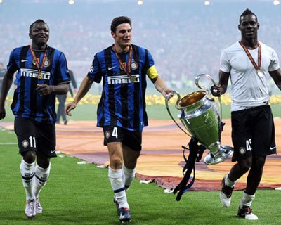Inter players savouring a past glory