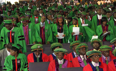 New students at the 9th Matriculation ceremony for 2010/2011 Academic Session Undergraduate/Postgraduate Degree Programmes