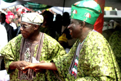 When the going was good...President Goodluck Jonathan (right) and former President Olusegun Obasanjo