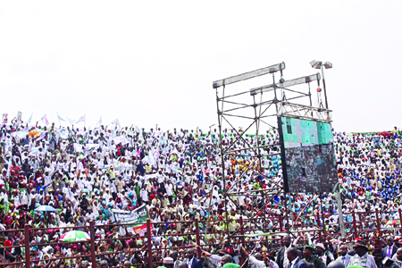 A mammoth crowd at the Liberation Stadium for the rally. Eleven individuals died following a stampede