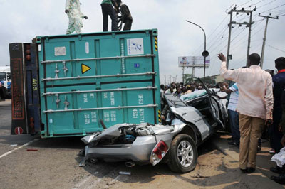 An Accident Involving Container and a Car Which Claim the Lives of the Car Ownerat Ojota on the Ikorodu Road,  in Lagos