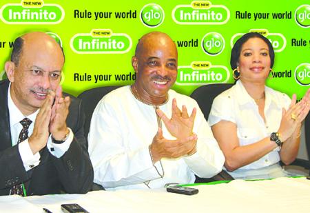 Globacom's Chief Operating Officer, Mohamed Jameel; Executive Director, Human Resources, Adewale Sangowawa, and Glo ambassador/ Nollywood actress Monalisa Chinda