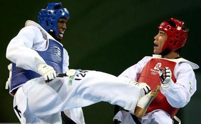 Chika Chukwumerije at the Beijing 2008 Olympics where he won a bronze medal.