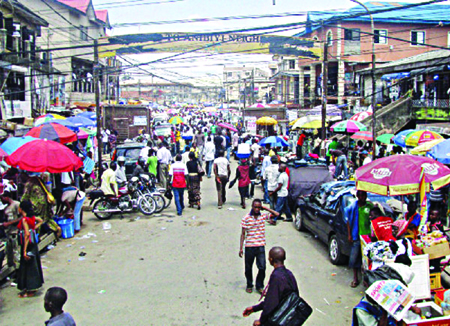 One of the busy streets in  the Computer Village Ikeja, Lagos