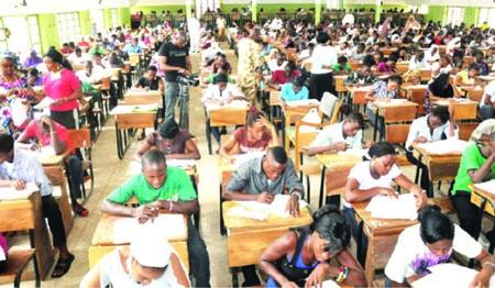 Students writing exam