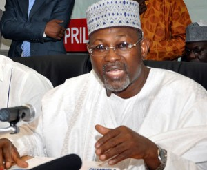 INEC Chairman Prof Attahiru Jega during the nationwide broadcast announcing the postponement of the N/Assembly elections, Saturday, in Abuja.