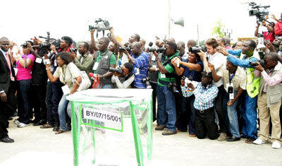 The media ...as Jonathan cast his vote in Bayelsa.