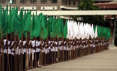 Rehearsal , callisthenic flag bearers  during the rehearsal ahead of Presidential Inauguration at Eagle Square Abuja Wednesday . Photo : Gbemiga Olamikan