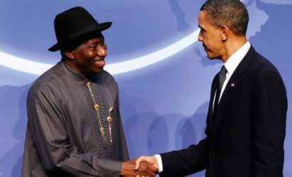 File photo: United States President Barack Obama and President Goodluck Jonathan