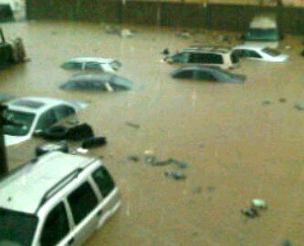 A submerged car park at Ogudu