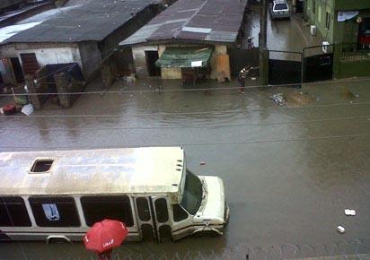 File photo: Flooded Lamoye street, Ijesha, Surulere by citizen Simon Anionwe