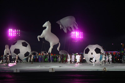PECTACLE•••Choreographers pull all the stunts with an horse, a giant soccer ball and an hippopotamus during colourful opening ceremony of the 17th National Sports Festiva in Port Harcourt on Sunday. Photo by Henry Unini