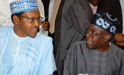 File photo: CPC National leader, Gen. Mohammed Buhari discussing with National Leader of ACN, Bola Tinubu at a meeting in Abuja
