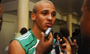 Osaze Odemwingie in a with the press
