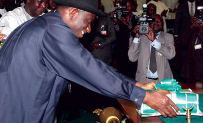 File photo:  President Jonathan laying the Budget Proposal before the National Assembly members