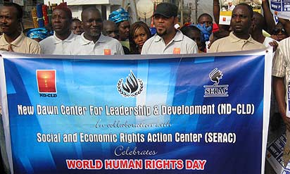 Nollywood actor, Ramse Noah leading the campaign with some human rights advocates.