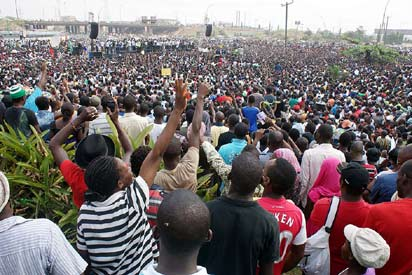 File photo: Protesters at Ojota during fuel subsidy protest