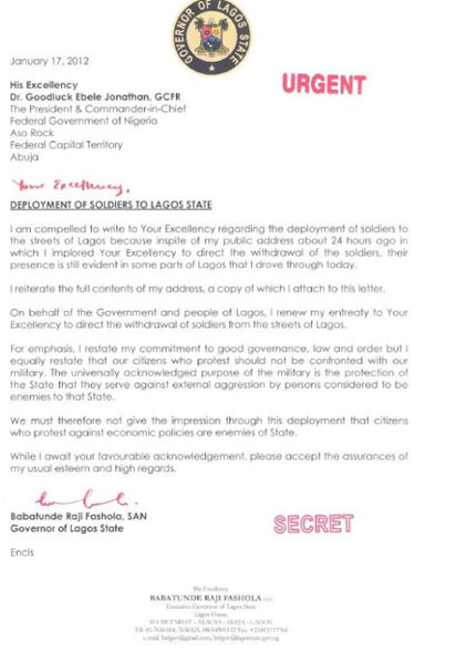 Sample Letter To Lagos State Governor