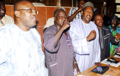 SOLIDARITY: From left:  Gen.Sec of NLC, Owei Lakemfa; NLC President, Abdulwaheed Omar; Deputy President, Kiri Mohammed and others at NLC Press Conference declaring General Strike from Monday, January 9, 2012. Photo: Gbemiga Olamikan.
