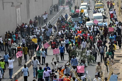 File photo: Protesters along Ikorodu road, Lagos