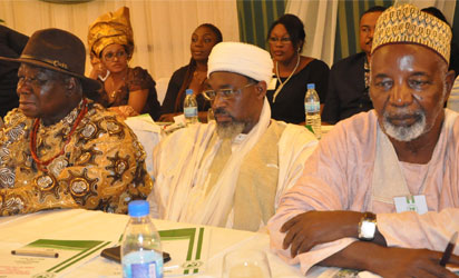 DIALOGUE—From left: Chief Edwin Clark, Imam Abdulrahman Ahmad, Chief Missioner of Ansar udeen Muslim Group, and Alhaji Balarabe Musa, former Governor of Kaduna State, during the Eminent National Leaders of Thought Dialogue on The State of The Nation, yesterday in Lagos. Photo: Bunmi Azeez.