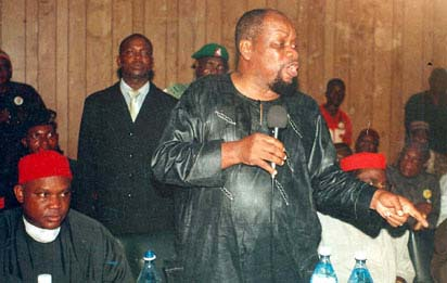 File: An undated photo of Chief Ojukwu at an Igbo National Assembly meeting.