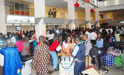 Travellers at the arrival wing of the Murtala Muhammed Airport II Ikeja in Lagos.