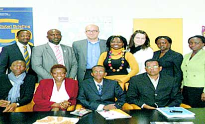 Toyin in Brussels, Belguim with other leaders.