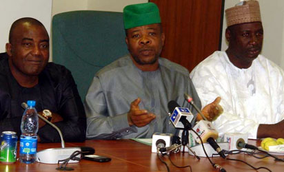 From left: Deputy House Leader, Rep. Leo Ogor; Chairman, Constitution Review Committee of the House of Representatives and Deputy Speaker, Emeka Ihedioha, and Chief Whip, Rep. Ishaka Bawa, during the News Conference on the forthcoming Constitution Review Committee's Retreat in Port Harcourt in Abuja yesterday.