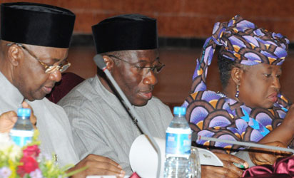 President Goodluck Jonathan (middle); Vice President Namadi Sambo (left) and Finance Minister, Dr. Ngozi Okonjo-Iweala during the opening of the Presidential Retreat on Maritime Security at the Banquet Hall, State House, Abuja, yesterday. Photo: Abayomi Adeshida.