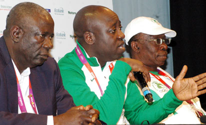 L-r, Engr. Sani Ndanusa, President, NOC, Mallam Bolaji Abdulahi, Minister of Sports and Chairman, NSC and Dr. Patrick Ekeji, Director General, NSC at a press briefing addressed by the minister on the performance of team Nigeria so far in London. Photo by Sylva Eleanya.