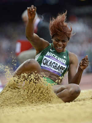 File photo: Okagbare during female long jump at the 2012 London Olympics