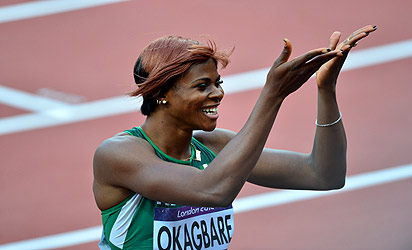 File photo: Okagbare shortly after a race