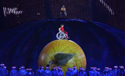 Artists perform during the opening ceremony of the London 2012 Paralympic Games at the Olympic Stadium in east London on August 29, 2012.  AFP PHOTO