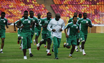 RUNNING AGAINST TIME: Super Eagles in training.
