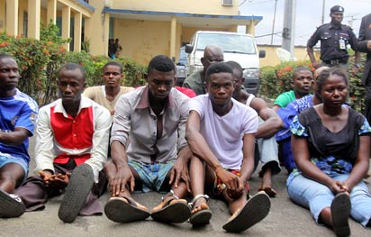 Arrested suspects paraded by the Police in Port Harcourt.