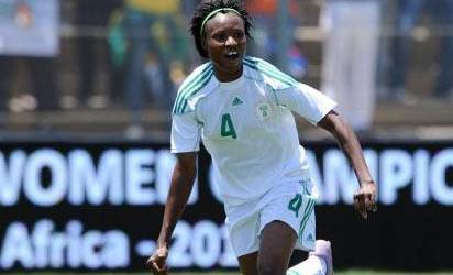 Nkwocha celebrates her winning goal yesterday