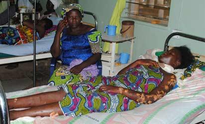 VICTIM  OF THE SUICIDE BOMB BLAST ON SUNDAY AT ST. RITA'S CATHOLIC CHURUH, ANGWAN YERO, MALALI, IN KADUNA; RECEIVING TREATMENT AT 44 NIGERIAN ARMY HOSPITAL ON MONDAY. PHOTO:OLU AJAYI