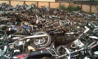 Crushed motorbikes