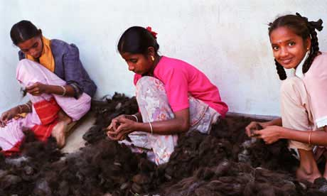 Women in an Indian hair processing factory